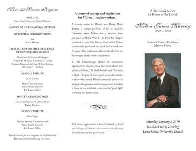 Memorial Service Program - Milton Murray Fund for Philanthropy